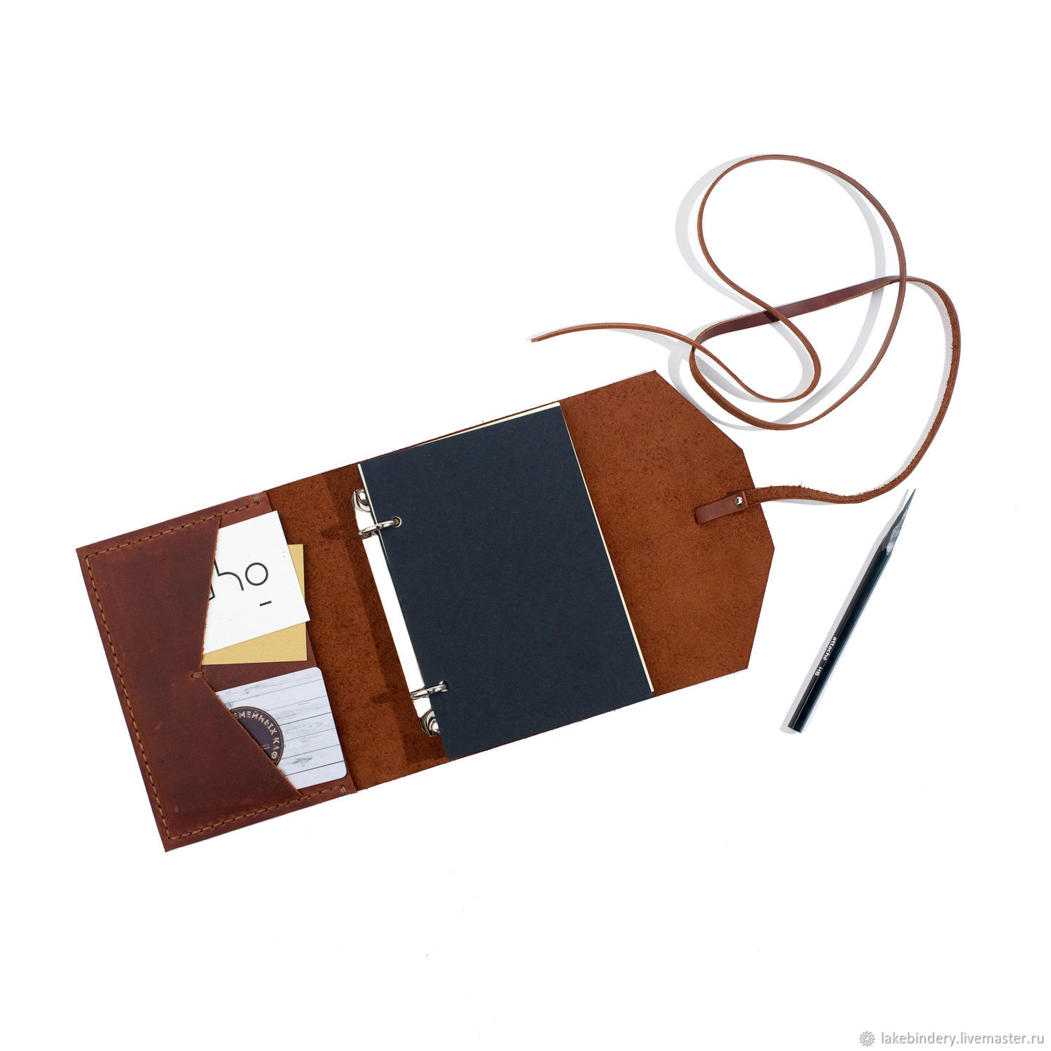 Nominal leather notebook on rings A6 notebook made of genuine leather, Notebooks, Moscow,  Фото №1