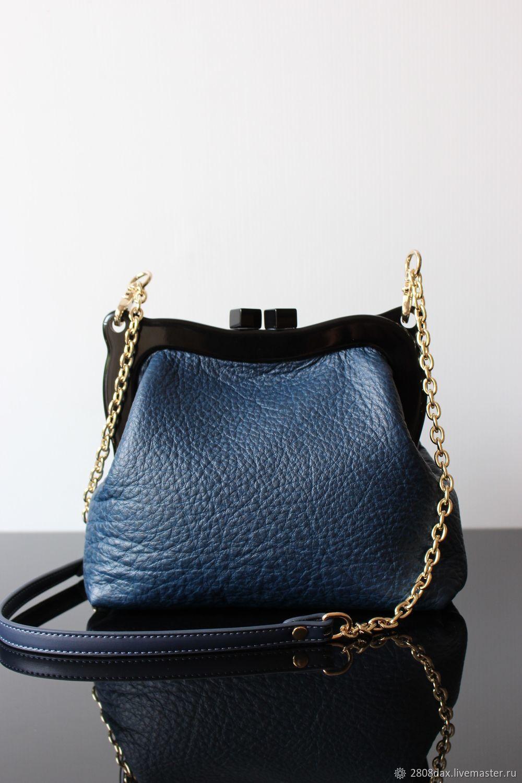 0f9b4e2cb9d6 Ярмарка Мастеров - ручная работа. Купить Синяя кожаная сумочка, · Женские  сумки ручной работы. Синяя кожаная сумочка, синяя, на плечо, сумка на ...