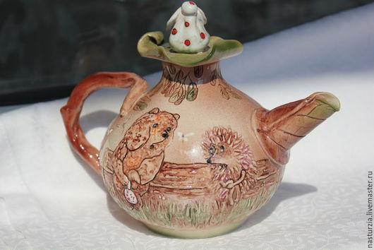 Чайники, кофейники ручной работы. Ярмарка Мастеров - ручная работа. Купить Чайник Ежик и Медвежонок. Handmade. Бежевый, медвежонок, для чая