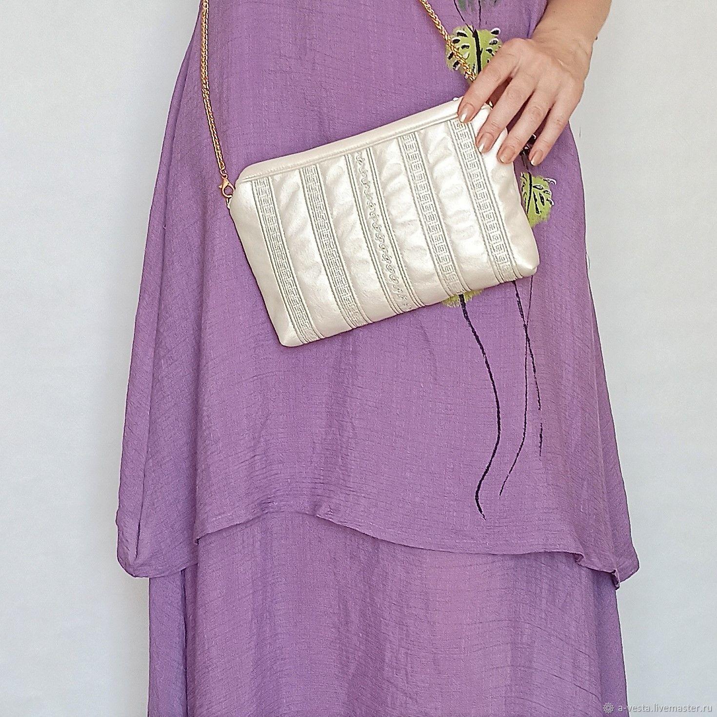 Pearl clutch bag, white handbag, summer bag (144), Clutches, Saratov,  Фото №1