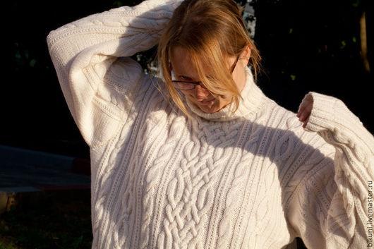 Для мужчин, ручной работы. Ярмарка Мастеров - ручная работа. Купить Большой размер! Мужской шерстяной вязаный свитер с аранами.. Handmade.
