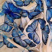 """Аксессуары ручной работы. Ярмарка Мастеров - ручная работа Шарф """"Голубые морфы"""". Handmade."""
