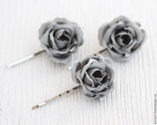 Свадебные украшения ручной работы. Ярмарка Мастеров - ручная работа. Купить Серые шпильки. Шпильки с розочками. Шпильки-розочки. Серые розы. Handmade.