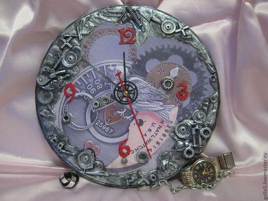 Часы для дома ручной работы. Ярмарка Мастеров - ручная работа. Купить Часы  СТИМПАНК. Handmade. Серебряный, часы декупаж