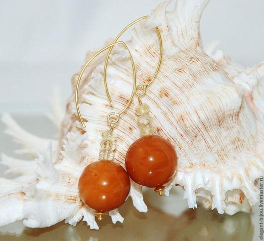 Серьги из янтаря, настоящих лимонных топазов и позолоченного серебра