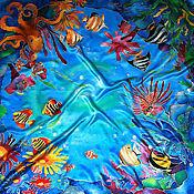 """Аксессуары ручной работы. Ярмарка Мастеров - ручная работа Шелковый платок-батик """"Подводный мир"""". Handmade."""