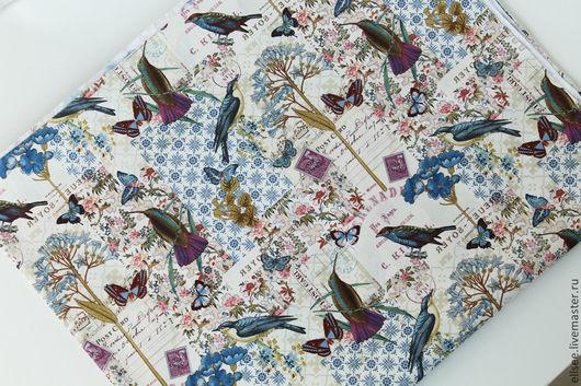 """Шитье ручной работы. Ярмарка Мастеров - ручная работа. Купить Ткань """"Коллаж. Цветы и птицы"""". Handmade. Ткань для творчества, ткань"""
