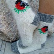 Аксессуары handmade. Livemaster - original item Gift wool socks with fuzz. Handmade.