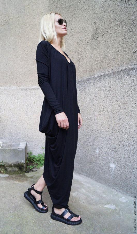 Платья ручной работы. Ярмарка Мастеров - ручная работа. Купить Повседневное платье/Платье в пол/F1608. Handmade. Черный, платье повседневное, вискоза