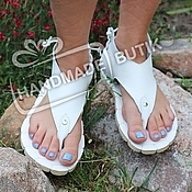 Обувь ручной работы handmade. Livemaster - original item sandals low white leather.. Handmade.