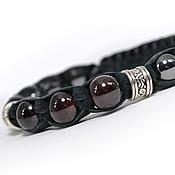 Украшения handmade. Livemaster - original item Shamballa bracelet with garnet and hematite leather. Handmade.
