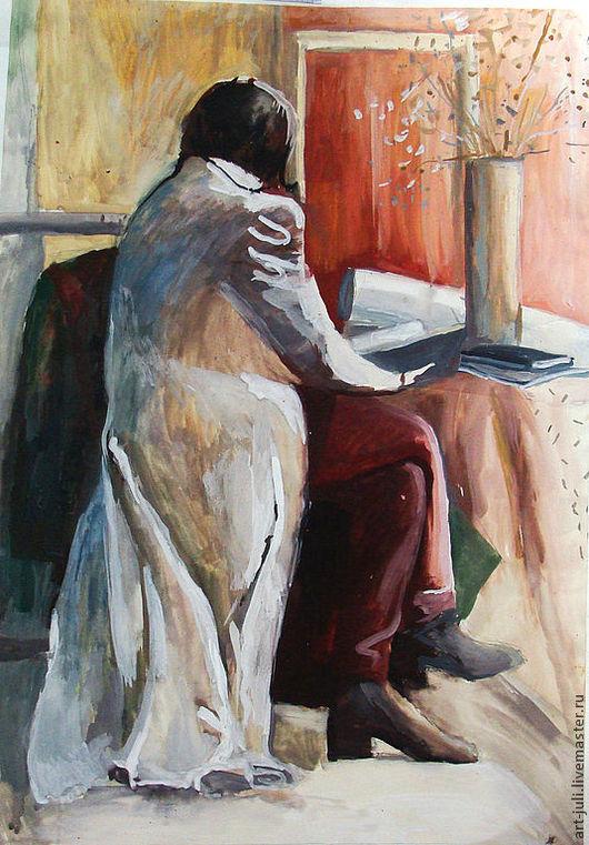 """Люди, ручной работы. Ярмарка Мастеров - ручная работа. Купить картина 84х60см """"за чтением"""". Handmade. Картины и панно"""