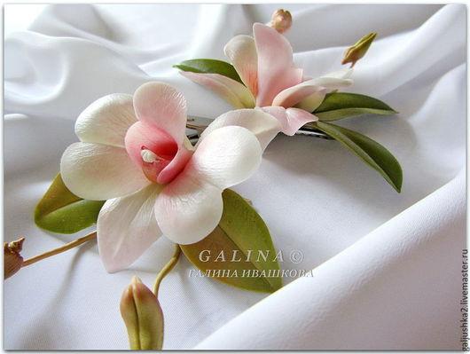 Заколки Белая орхидея дендробиум . Холодный фарфор. Цветок 7 см.