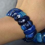 Украшения handmade. Livemaster - original item Bright bracelet with natural blue agate cut. Handmade.
