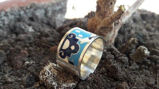 Кольца ручной работы. Ярмарка Мастеров - ручная работа. Купить Серебряное кольцо с эмалью - Бурано 2. Handmade. Голубой