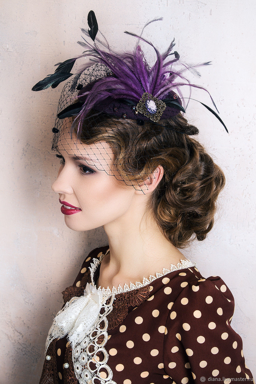 Дизайнерская шляпка с перьями, Шапки, Москва,  Фото №1