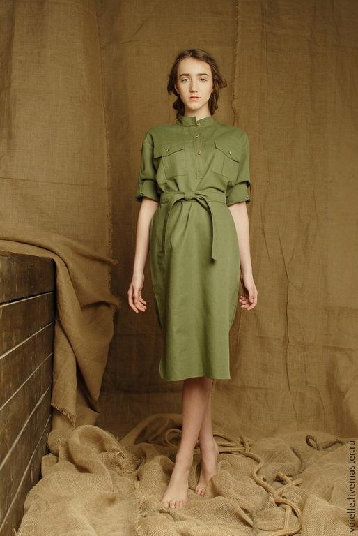 shirt dress green military-inspired dress linen summer, every day knee-length, midi dress with long sleeves, pockets and belt, dress linen cotton