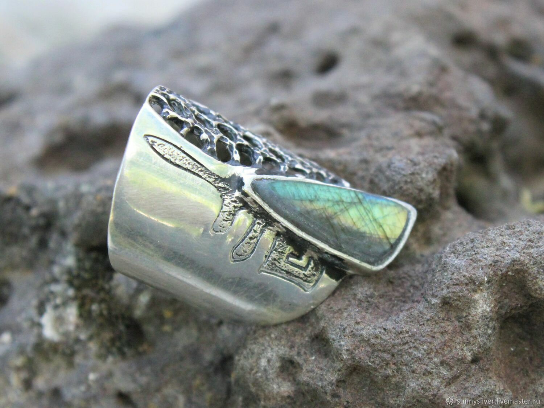Кольцо Этнический Авангард #57 с лабрадоритом из серебра HB0066-2, Кольца, Ереван,  Фото №1