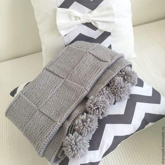 Пледы и одеяла ручной работы. Ярмарка Мастеров - ручная работа. Купить Детский вязаный плед. Handmade. Серый, акрил
