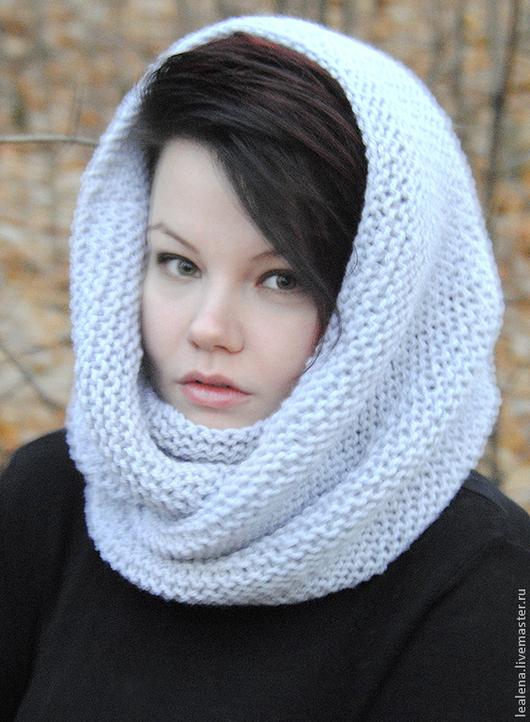 """Шали, палантины ручной работы. Ярмарка Мастеров - ручная работа. Купить Снуд-шарф серый  """" Перламутр"""" (полушерсть). Handmade."""