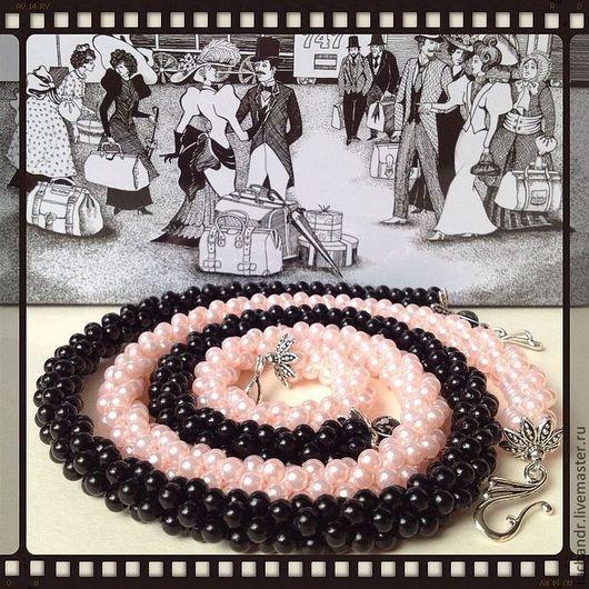 Купить Черно-розовые сны - колье, ожерелье, бусы, украшение, бижутерия, длинное колье, короткое колье, украшение трансформер, черное, бледно-розовое, перламутровое. Магазин Украшений Лозбенева Юлия