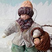Подарки к праздникам ручной работы. Ярмарка Мастеров - ручная работа Ватная елочная игрушка ВАСЮТКА. Handmade.