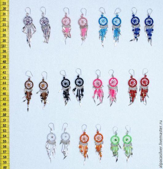 Серьги ручной работы. Ярмарка Мастеров - ручная работа. Купить Серёжки из цветных ниток, однотонные, разные цвета. Handmade. Комбинированный