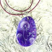 """Украшения handmade. Livemaster - original item Painted pendant """"Lilac mood"""". Handmade."""