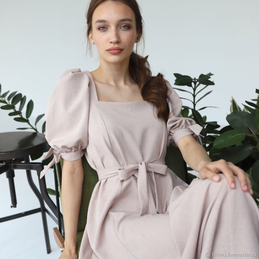 Льняное платье с пышными рукавами, Платья, Москва,  Фото №1
