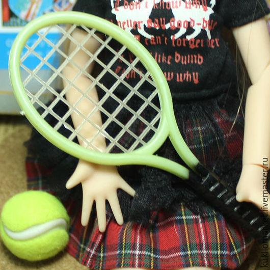 Куклы и игрушки ручной работы. Ярмарка Мастеров - ручная работа. Купить Ракетки для кукол с мячиком. Handmade. Комбинированный, аксессуары для кукол