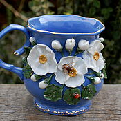 Посуда handmade. Livemaster - original item Mugs and cups: Jasmine. Porcelain mug with decor.. Handmade.