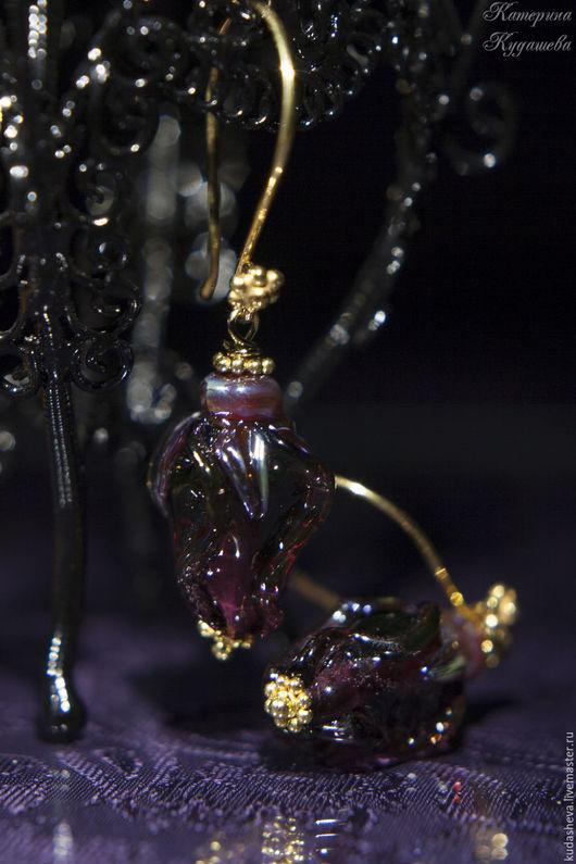 """Серьги ручной работы. Ярмарка Мастеров - ручная работа. Купить Серьги """"Розочки"""". Handmade. Екатерина кудашева, серьги лэмпворк, цветы"""