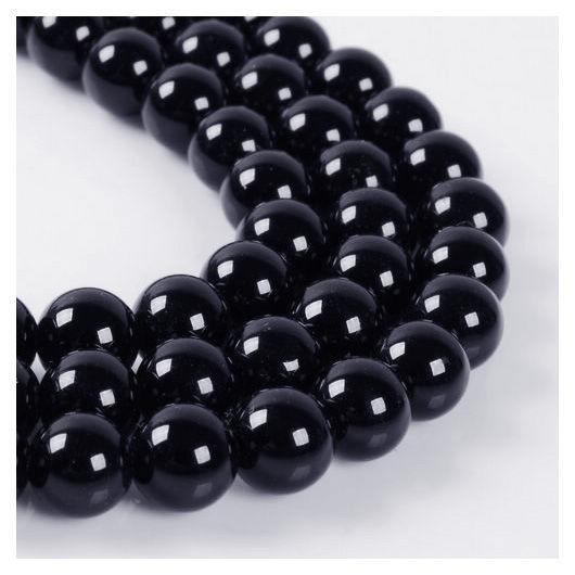 Агат черный бусины