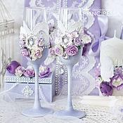 """Свадебный салон ручной работы. Ярмарка Мастеров - ручная работа """"Лавандовые цветы"""" свадебные бокалы. Handmade."""