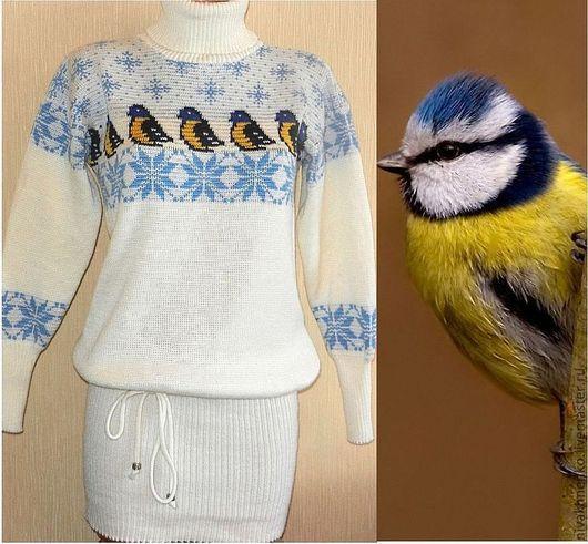 Для будущих и молодых мам ручной работы. Ярмарка Мастеров - ручная работа. Купить Платье - свитер вязаное Птичка синичка. Handmade.