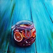 Картины и панно ручной работы. Ярмарка Мастеров - ручная работа Картина маслом Банка с вареньем. Handmade.