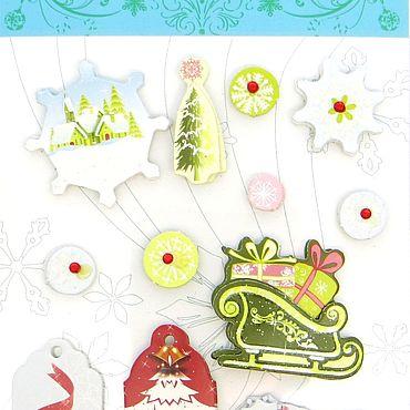 Материалы для творчества ручной работы. Ярмарка Мастеров - ручная работа Декор: Наклейки 3D  Новый год. Handmade.