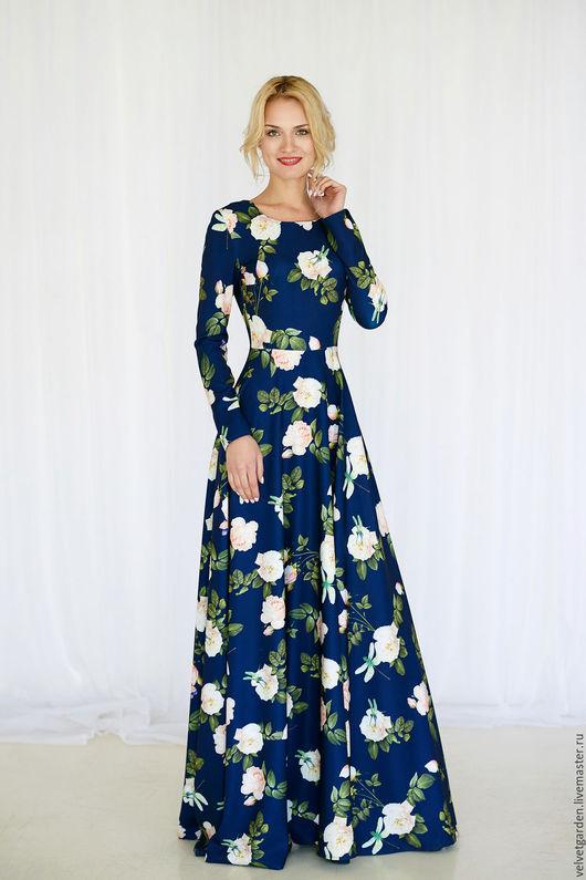 """Платья ручной работы. Ярмарка Мастеров - ручная работа. Купить Платье """" Синие розы """". Handmade. Комбинированный"""