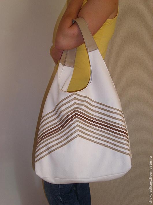 """Женские сумки ручной работы. Ярмарка Мастеров - ручная работа. Купить Льняная сумка с кожей """" Мне бы в небо..."""". Handmade."""