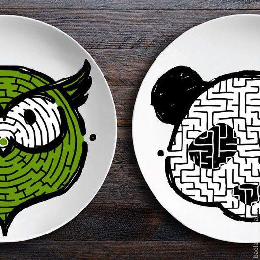 Тарелки ручной работы. Ярмарка Мастеров - ручная работа. Купить Набор тарелок лабиринтов ЗооЛаб (сова/панда). Handmade. Тарелка в подарок