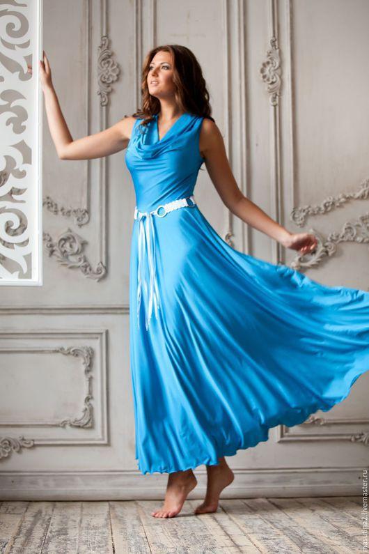"""Платья ручной работы. Ярмарка Мастеров - ручная работа. Купить Платье """"Ассоль"""". Handmade. Голубой, нарядное платье, масло"""