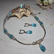 Украшения handmade. Livemaster - original item Set with blue opal (necklace earrings). Handmade.