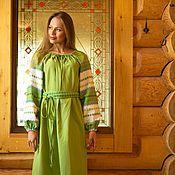Одежда handmade. Livemaster - original item Linen dress Slavic
