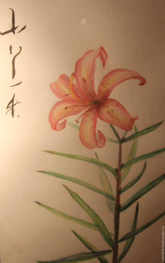 Картины цветов ручной работы. Ярмарка Мастеров - ручная работа. Купить Лилия. Handmade. Кремовый, цветок, акварельная картина, цветы