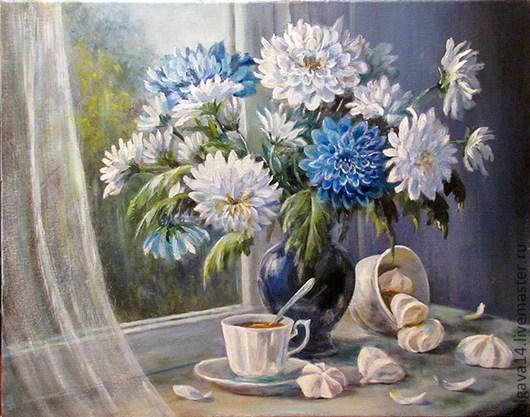 Натюрморт ручной работы. Ярмарка Мастеров - ручная работа. Купить Хризантемы- цветы запоздалые. Handmade. Цветы, хризантемы, картина в подарок