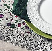 Для дома и интерьера ручной работы. Ярмарка Мастеров - ручная работа Скатерть из плотного льна в мелкий цветочек с кружевом балтийский лен. Handmade.