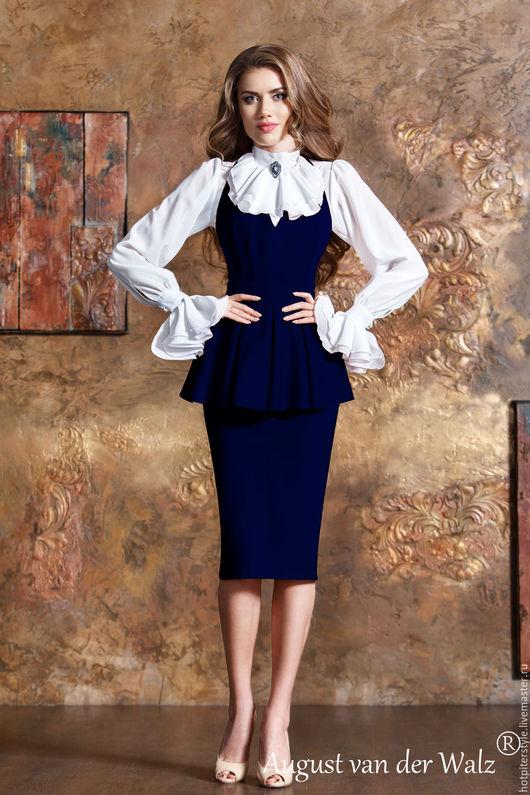 Платье сарафан, платье в офис, повседневное платье, платье с баской. Ручная работа, сделано в Санкт-Петербурге.