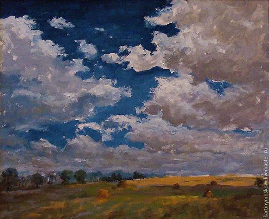 """Пейзаж ручной работы. Ярмарка Мастеров - ручная работа. Купить Картина маслом """"Осеннее небо"""". Handmade. Белый"""