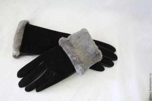 Варежки, митенки, перчатки ручной работы. Ярмарка Мастеров - ручная работа. Купить Перчатки комбинированные женские зимние, на натуральном меху кролика.. Handmade.