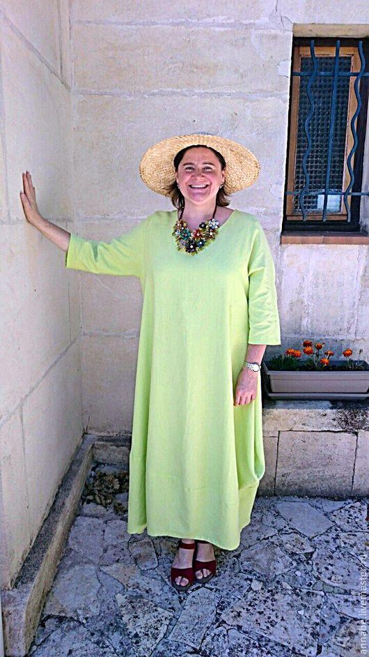 Платья ручной работы. Ярмарка Мастеров - ручная работа. Купить Платье Лайм, лен 100%. Handmade. Салатовый, макси